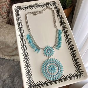 Chaps Turquoise Silver Boho Statement Necklace